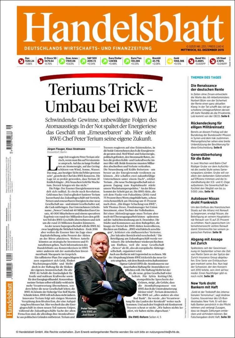 Portada de Handelsblatt (Alemania)