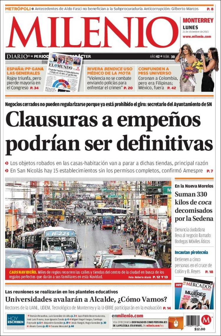 Periódico Milenio de Monterrey (México). Periódicos de México ...