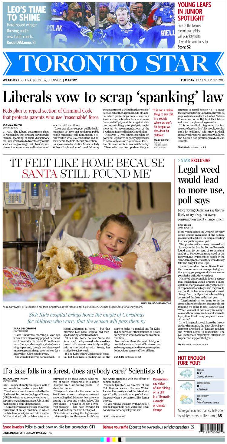 Newspaper The Toronto Star (Canada). Newspapers in Canada. Tuesday\'s ...
